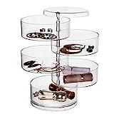 Comius Sharp Caja Joyero Organizador Rotación de 360° con Tapa Almacenamiento, Caja Joyero Organizador de Almacenamiento de Joyas 4 Niveles, para Anillos, Pendientes Pulseras y Collares (Transparente)