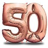 envami Globos de Cumpleãnos 50 Oro Rosas I 101 CM Globo 50 Años I Globo Numero 50 I Decoracion 50 Cumpleaños Mujer I Globos Numeros Gigantes para Fiestas I Vuelan con Helio