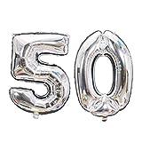 Meowoo Globo Número 50 Año Globo de Cumpleaños Foil Globo Gigante Helio Globo de Papel de Aluminio 100cm 40 Pulgada Fiesta de Aniversarios Suministros Decoración (Plata)