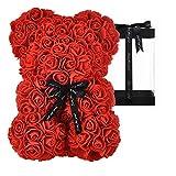 AZXU Oso Rosa - Oso de Peluche Rosa en Cada Oso Rosa - Oso de Flores Aniversario, Oso Rosa, Madres, Oso de Peluche Rosa. - ¡Caja de Regalo Transparente incluida! 10 Pulgadas (Red)