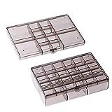 LGYKUMEG 2 Pedazos de Almacenamiento apilables para Joyas de Almacenamiento Caja joyero Caja Surtido de plástico Transparente para el Pendiente Anillos de Perlas,A,12+30Grids